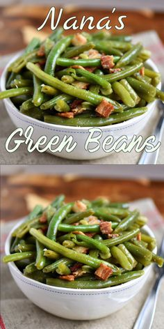 My Nana's Famous Green Bean recipe! Made with just a handful of ingredients including bacon, this easy green bean recipe make a delicious addition to any meal! One of the most requested recipes from my family - year-round!// Mom On Timeout Canned Green Bean Recipes, Cooking Fresh Green Beans, Green Beans With Bacon, Bob Evans Green Beans Recipe, Kfc Green Beans Recipe, Simple Green Bean Recipe, Boiled Green Beans Recipe, Crockpot Fresh Green Beans, Crock Pot Green Beans