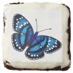 Tropical Jungle Blue Butterfly Gourmet Brownies Square Brownie  #party  #gifts