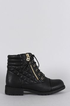 Quilted Zipper Trim Round Toe Lace Up Combat Ankle Boots