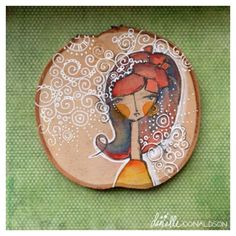 Danielle Donaldson cameo style painting on wood Acrylic Painting Inspiration, Painting On Wood, Watercolor Projects, Happy Paintings, Egg Art, Land Art, Whimsical Art, Pebble Art, Stone Art