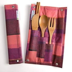 Reusable bamboo utensils in an adorable recycled plastic holder. It even includes chopsticks!