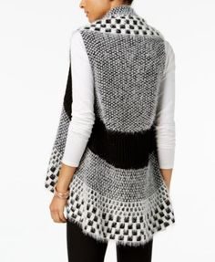 Olivia & Grace Printed Eyelash Vest, Created for Macy's - Black XXL