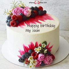 Birthday Cake Images Download with Name - eNameWishes Birthday Cake Write Name, Birthday Cake Writing, Fruit Birthday Cake, Birthday Wishes Cake, Cake Name, Birthday Cards, Latest Happy Birthday Images, Birthday Images Hd, Happy Birthday Cake Images