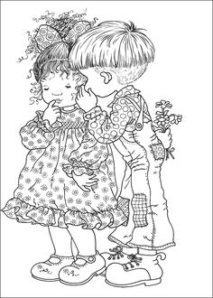 coloriage deux enfants chuchotent