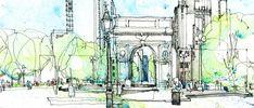 Washington Park Square, New York city as drawn by Simone Ridyard of Urban Sketchers
