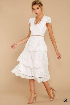 Brunch Out White Eyelet Midi Dress Lovely White Eyelet Midi Dress - Short Sleeve Lace Midi - Dress - White Eyelet Dress, White Midi Dress, White Maxi Dresses, Lace Dress, Dress Red, Wrap Dress, Dressy Dresses, Unique Dresses, Pink Lace