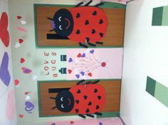 Love bug! Valentine classroom doors. use die cut hearts and put on student pictures to decorate our door in February