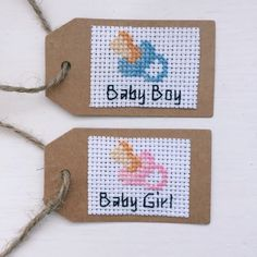 New Baby Girl or Baby Boy Cross Stitch Gift Tag by xCottonKisses