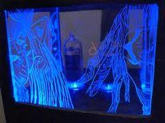lighted etched plexiglass art