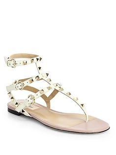 105c145739da Valentino Rock Stud Gladiator Thong Sandals Leather Gladiator Sandals