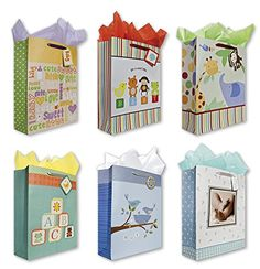 Baby Shower Party Gift Bags Set Of 6 Jumbo Birthday W Birds