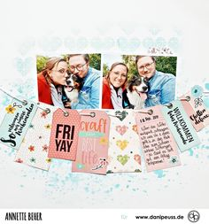 "Scrapbooking Layout mit dem Klartext-Stempelset ""FRI-YAY"" | von Annette Beher für www.danipeuss.de #danipeuss #scrapbooking #memorykeeping #stempeln #papercrafting #basteln Project Life, Scrapbooking Layouts, Polaroid Film, Inspiration, Real Talk, Stamping, Photo Books, Crafting, February"