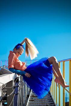Blauwe tule rok