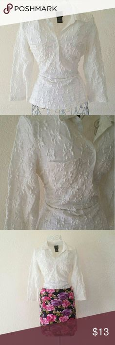 4701f7a4262 LACE BLOUSE Perfect for many outfits! dress it up or down Size S In good  condition INC International Concepts Tops Tees - Long Sleeve