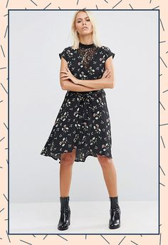 Florals for the not-so-girlie girl – a little bit of ditzy print spliced with summer-goth black lace