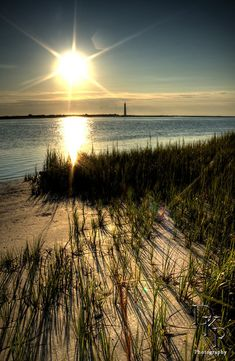Folly Beach South Carolina Sunrise Beach Scene Morris Island Light