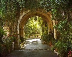 """An idea for a great driveway element! Could even build in yard storage """"sheds"""" along the interior arch. I know, far-fetched, but instant """"interest"""" even in a subdivision. Add bushes and quick growing vines. Small public garden in front, lawn by house."""