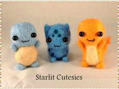 Needle felted Pokemon Starter Pack! Charmander, Squirtle, Bulbasaur - Made to Order