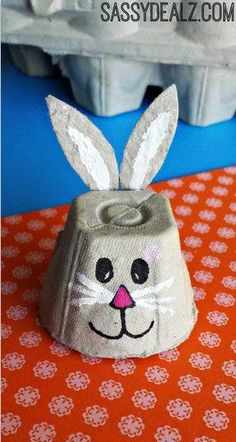 Easy Egg Carton Crafts for Kids - Crafty Morning : What a cute little bunny! The things you can do with an egg box are Eggstraordinary Here are some frugal and fun egg carton crafts for kids to make! Easter Arts And Crafts, Egg Crafts, Bunny Crafts, Crafts For Kids To Make, Easter Crafts For Kids, Toddler Crafts, Projects For Kids, Art Projects, Insect Crafts
