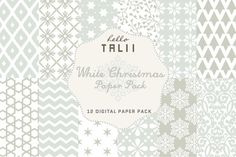 SALE! White Christmas Paper Pack. Christmas Patterns. $3.00