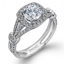 18K white modern design semi-mount engagement ring with cushion halo