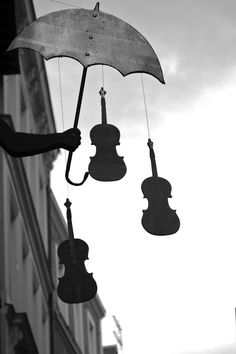 The umbrella with the violins is a cute idea and works well. I think if this image was not in black and white it would not look as good.