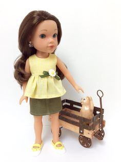 14 Inch Hearts For Hearts Doll: Yellow and White Gingham Top with Green Denim Skirt by JGooseandCo on Etsy