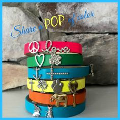 """Why not add a POP of color to accessorize your day today?  Pick a leather """"keeper"""" (bracelet) and some """"keys"""" charms and let's get one to you."""