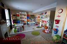 An Educator's Guide to Creating an Organized Play Space.get your play space/ homeschool organized for the new year! Love this play space Play Spaces, Learning Spaces, Kid Spaces, Daycare Spaces, Home Daycare, Daycare Ideas, Classroom Organization, Organized Playroom, Toy Organization