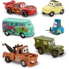"""25€ DISNEY PIXAR CARS """"2"""" FIGUREN AUTO SET - Lightning McQueen, Tow Mater, Sarge, Guido, Luigi und Fillmore (PVC, Plastic)"""