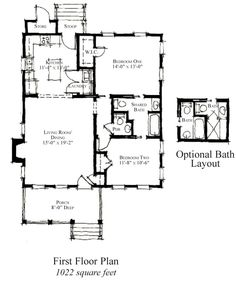 First Floor Plan of Country   Historic   House Plan 73891