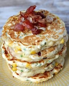 These Bacon and Corn Griddle Cakes are savory pancakes with added bacon, corn and cheese and topped with maple syrup- a unique, delicious breakfast recipe. Delicious Breakfast Recipes, Brunch Recipes, Yummy Food, Bacon Recipes, Breakfast Desayunos, Breakfast Dishes, Griddle Recipes, Savory Pancakes, Corn Pancakes