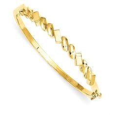 14k 5.3mm Fancy Casted Hinged Bangle Bracelet.