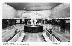 Photo postcard of the interior of the Airlines Terminal.