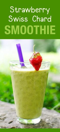 Strawberry Swiss Chard Smoothie - a delicious vegan and dairy free recipe | VeggiePrimer.com