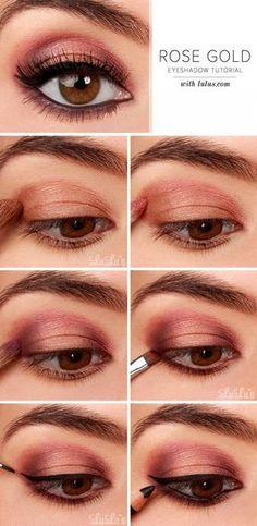 Rose Gold Eyeshadow | Gorgeous & Easy Eye Makeup Tutorials For Brown Eyes | Eye Shadow Tutorials at http://makeuptutorials.com/gorgeous-easy-eye-makeup-tutorials-brown-eyes-eye-shadow-tutorials/
