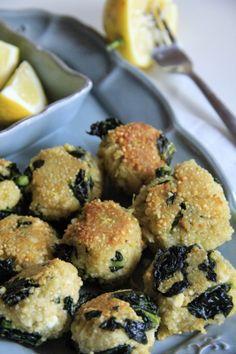 Polpette di quinoa,feta,scorza di limone e cavolo nero