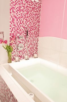 Pink Glitter Mosaic Bathroom. I could be at home here!