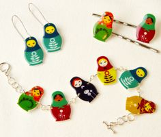 Morgan Shooter's Russian Doll Bracelet, Earrings, and Hair Pins made from shrink plastic