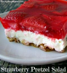 Strawberry Pretzel Salad is the perfect combination of sweet and salty.   Be sure to click it to read how to make it. Great dessert for summer barbecues!