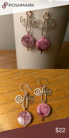 Purple Speckled Dangle Earrings I love mixing metals. These pretty earrings have copper and silver Jewelry Earrings