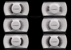 """False Lashes: An Important part of any finished look, be it editorial, theatrical, or bridal. Shown here by MAC. The """"corners"""" (top left) are my favorite."""