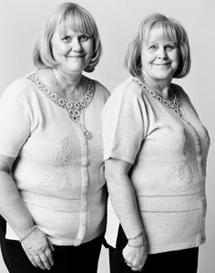 "NOPE, they're not twins! They're not even related.. they just look alike. I guess everybody really does have a twin, somewhere out there. This photo is from Canadian photographer Francois Brunelle's series, ""I'm Not a Look-Alike."" He took 200 photos of people who look like identical twins, and are NOT even related. How crazy is that?!"