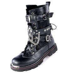 Men Black Studded Cyber Punk Goth Fashion Biker Boots w/ Chain Straps SKU-1280361