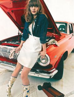 May's Worst Placement of a White Skirt In A Fashion Shoot, InStyle. Of course every woman knows to wear white white changing the oil in her car!