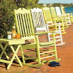 Kiwi Green and Lemondade Yellow Porch Rockers - who says porch rockers have to be boring? Space Saving Storage, Outdoor Lounge Furniture, Create Space, Rocking Chair, Home Furnishings, Outdoor Living, Home And Garden, Patio, Wood