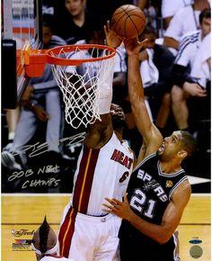 LeBron James 2013 Finals Blocking Duncan Signed Vertical 16x20 Photo w/ '2013 NBA Champ' LE25 (UDA)
