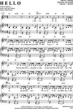 Hello (Klavier + Gesang) Adele [PDF Noten] >>> KLICK auf die Noten um Reinzuhören <<< Noten und Playback zum Download für verschiedene Instrumente bei notendownload Blockflöte, Querflöte, Gesang, Keyboard, Klavier, Klarinette, Saxophon, Trompete, Posaune, Violine, Violoncello, E-Bass, und andere ...