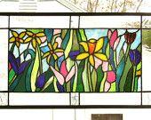 "Spring Flower Garden--13.5"" x 23""--Stained Glass Window Panel--"