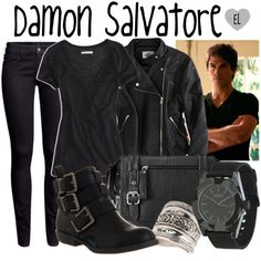 """Damon Salvatore -- The Vampire Diaries"" by evil-laugh on Polyvore"